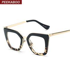 Coucou Nouveau 2016 vintage lunettes cadres de mode cat eye demi métal cadre lunettes pour femmes marque designer noir léopard