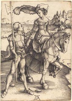 ALBRECHT DÜRER Lady on Horseback and the Lansquenet, ca. 1497 Engraving