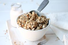 SUPERFOOD BREAKFAST CRUNCH CEREAL  I've given my original Five Minute Breakfast Crunch Cereal a makeover  adding a few extra goodies to really kick it up a nutritional notch.   It's still gluten free, simple and quick to make and beats any store bought  cereal on the shelf hands down!   My k