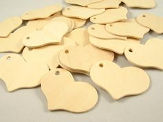 25 Wood Gift Tags - Hearts, 2 5/16 inch x 1/8 inch Unfinished Wooden Tags for DIY on Etsy, $9.45