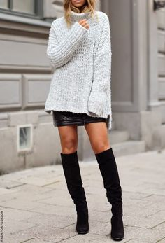 oversized sweater with leather mini