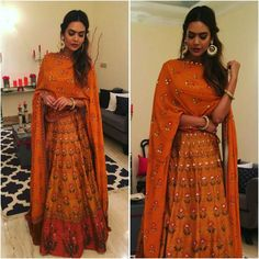 #EshaGupta in #AnitaDongre #bridal #couture #gotapatti #bridal #brides #diwali #lehenga #skirt #handcrafted #handmade #embroidery #print #bohemian #boho #bohochic #bridesmaid #bridesmaids #bollywood #bollywoodstyle #celebstyle #wedding #weddings #sangeet #festive #festival #rajasthan #india #indian