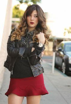 Peplum flare skirt + ombre hair