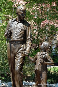 Statue of Andy and Opie, Mt. Airy, North Carolina. Come see the home town of the Andy Griffith show.