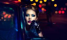 make-up neon# bokeh #city night # photos fashion