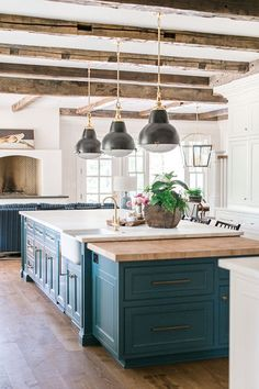 Photo from Julia Fisher Design Billings Home collection by Simplee Focused House Styles, Farmhouse Kitchen, Barn Wood, Home, Home Kitchens, Kitchen, Wood Beams, Home Collections, Reclaimed Barn Wood