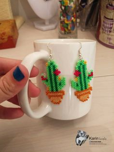"""Cactus earrings - hama beads. I make all those cool pixle art looking art from mini hama beads. You can find them and more in my fb page or get them from my store """"karin koala"""""""