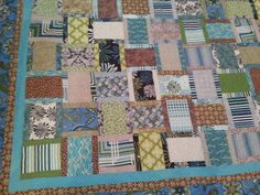 Large king size blue  green and tan quilt by 4quiltsandmore, $259.00