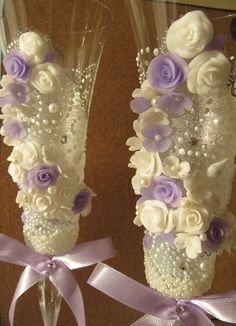 Wedding Toasting Glasses decorated with by EleganceEmbodied