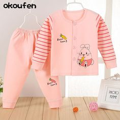 okoufen New baby boy and girl clothes suit best quality kids clothing sets spring and autumn children cartoon body suit retail
