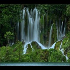 Green Waterfall In Rainforest by Kimberly Reynolds, pickykim