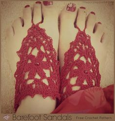 Red Barefoot Sandals by The Purple Poncho