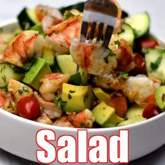 Shrimp and Avocado Ceviche Salad (Keto and Low-Carb) is the best easy recipe for a summer salad filled with zesty lime, cilantro, tomato, cucumbers, and more. This healthy dish has no mayo and is ready in minutes. Serve with pan-seared or grilled shrimp. Shrimp Avocado Salad, Shrimp Salad Recipes, Avocado Recipes, Healthy Salad Recipes, Seafood Recipes, Cooking Recipes, Seafood Appetizers, Crab Salad, Seafood Salad