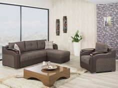 Divan Deluxe Sectional Sofa and Chair in Brown by Casamode