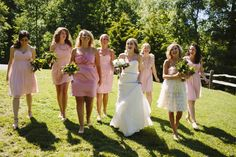 all different pink bridesmaid dresses! Photo by Lime Green Photography