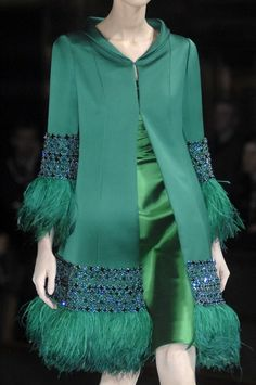 Valentino,green,satin,feathers.....Ok now all I need is Cartier to finish the look and an invitation to the opera :)