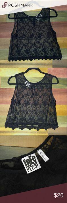 Free Press Sheer Black Crop Top Never worn sheer, lace-like crop top. Floral pattern. From Nordstrom - Free Press brand. Nordstrom Tops Crop Tops