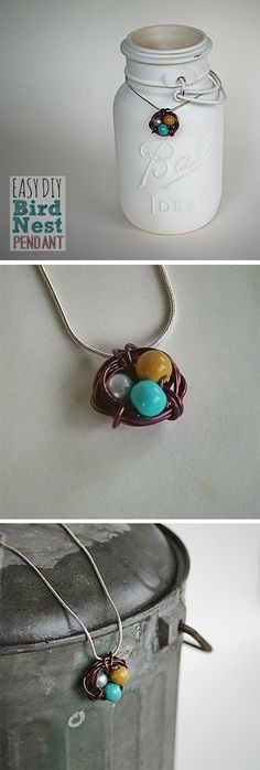 Make a fast, easy wire and bead bird nest/egg pendant with Video DIY by beadaholique @savedbyloves - Great gift for mommas; put an egg for each child.