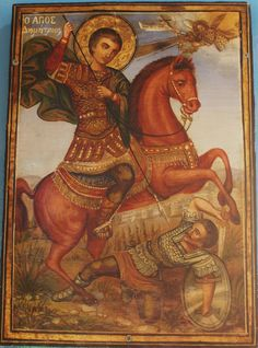 San Demetrio de Tesalónica Saint George And The Dragon, Orthodox Christianity, Orthodox Icons, Images, Princess Zelda, Painting, Fictional Characters, Saints, Christianity