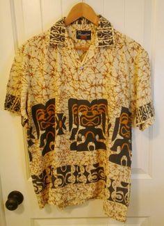 Vintage Hawaiian Shirt - Paradise Aloha Print Button Down Short Sleeve Shirt - Travel Souvenir Island Style Tiki Party - 1970s 1980s by ShipyardMillies on Etsy