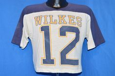 vintage #80s wilkes university #12 blue white mesh 1/2 football t-shirt small s from $33.99
