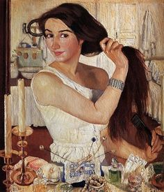 Zinaida Yevgenyevna Serebriakova (Russian artist, 1884-1967) Self Portrait at the Dressing Table 1909   It's About Time: 1900s Women Artists