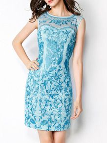 GORGEOUS! Light Blue Round Neck Sleeveless Contrast Gauze Embroidered Bodycon Dress US$65.99