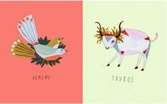 Semnele zodiacale desenate hipsteresc cu forme de animale si coronite de flori pe cap | La zi pe Metropotam