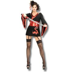 Ladies Ninja Girl Costume Chinese Martial Arts Fighter Fancy Dress Outfit