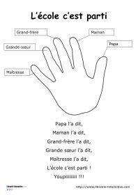 Une petite comptine avec les doigts sur le thème de la rentrée pour les classes de maternelle.