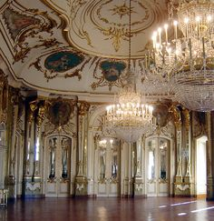 The 18th c ballroom in Queluz National Palace, Portugal, designed by Jean-Baptiste Robillon.