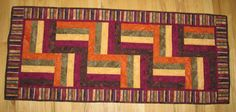 Fall Color Rail Fence Table Runner by CompassQuilts on Etsy