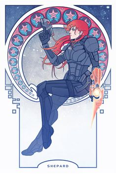 A femshep poster that's done in the style of Mucha. This particular listing is for a custom one, where she can change the hair, face, and colors to fit your order. Gorgeous work.