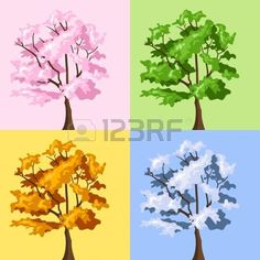 Illustration of Four season trees. vector art, clipart and stock vectors. Family Room Walls, Tree Illustration, Music Files, Oak Tree, Four Seasons, Vector Art, Photo Editing, Clip Art, Stock Photos
