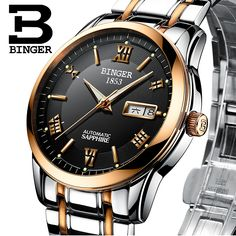 Switzerland men's watch luxury brand Wristwatches BINGER luminous Mechanical Wristwatches leather strap Waterproof B-107M-14 #Affiliate