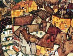 Krumau Town Crescent I by Egon Schiele www.gorringeantiques.co.uk