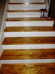 New Oak Stair Treads Installed Over Old Pine Treads We