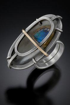 Sarah C Chapman - Opal Sanctuary Ring, oxidized sterling silver, 14k gold & boulder opal