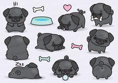 Premium Vector Clipart  Kawaii Pugs  Cute Black Pugs Clipart