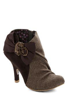 Irregular Choice Haute in Herringbone Bootie | Mod Retro Vintage Boots | ModCloth.com - How Nanny McPhee!! :)