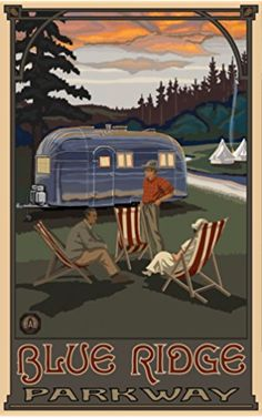 Northwest Art Mall Blue Ridge Parkway Airstream Campers North Carolina Wall Art by Paul A Lanquist, 11 by 17-Inch