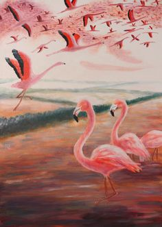Painting «Camargue Flamingos» by Nadine Lière, Acrylic on canvas board, 50 x 70 cm, 2015, http://grenadine-art.eu
