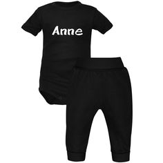 56096aaeb88e4 Ensemble bébé noir avec prénom   body et pantalon
