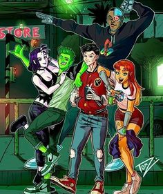 Artwork based on the original Teen Titans' concept by Teen Titans Love, Teen Titans Fanart, Titans Anime, Original Teen Titans, Dope Cartoon Art, Dope Cartoons, Harley Quinn Drawing, Joker And Harley Quinn, Teen Tians