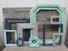 Set of 9 Upcycled Picture Frames - Mint, Grey, and Navy Blue Painted Frames - Distressed Scatter Frames - Nursery or Home Decor - Gray Decor on Etsy, $100.00
