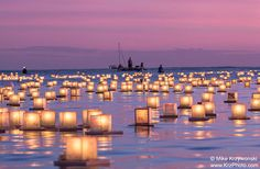 Floating Lanterns in the Ocean Under a Pink by ScenicSurroundings