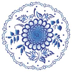 Folk Gzhel painting from Russia. A round floral pattern. #folk #art #Russian #patterns