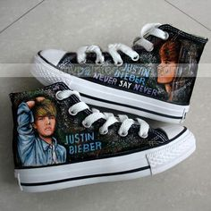 Hand Painted Justin Bieber's Albums Themed High-top Shoes- Three, New Arrival Hand Drawing Shoes, Cosplay Hand Drawing Shoes Justin Bieber Sketch, Justin Bieber Shoes, Justin Bieber Albums, Fotos Do Justin Bieber, Justin Bieber Outfits, Love Justin Bieber, Painted Canvas Shoes, Hand Painted Shoes, Custom Converse
