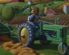 Country-Farm-Life-Tractor-Baling-Hay-Americana-Folk-Art-Oil-Painting ...