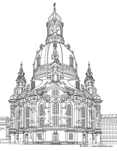 Dresden Frauenkirche, German architecture coloring page Architecture Drawing Art, Architecture Sketchbook, Arte Sketchbook, German Architecture, Architecture Background, House Drawing, Mandala Drawing, Urban Sketching, Coloring Book Pages